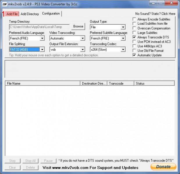 mkv2vob return to add file